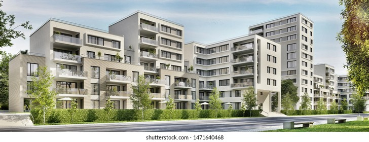 Modern apartment buildings in the city. 3d rendering