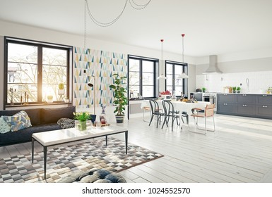 modern apartment interior. 3d rendering concept