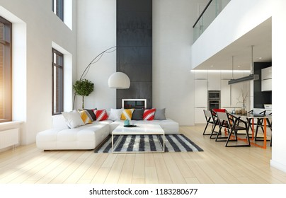 modern apartment interior. 3d rendering design concept