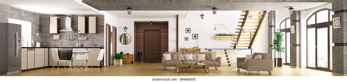 Modern apartment interior, living room, hall, kitchen,staircase, panorama 3d render
