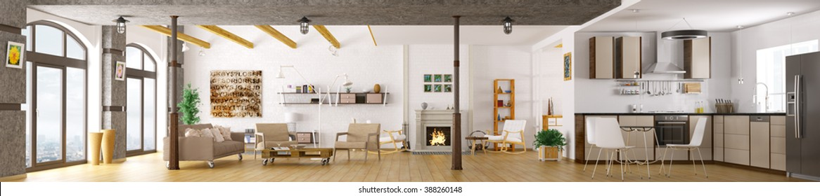 Modern apartment interior, living room, kitchen, lounge area, panorama 3d render