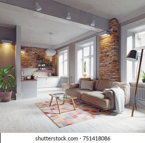 modern apartment  interior. Scandinavian style design. 3d rendering concept
