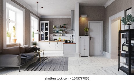 modern apartment interior. Sofa and kitchen zone. 3d rendering concept