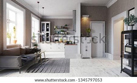 Royalty Free Stock Illustration of Modern Apartment Interior Sofa ...