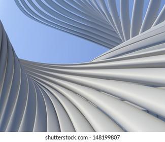 Modern architectural conceptual design. Geometric construction creative wallpaper