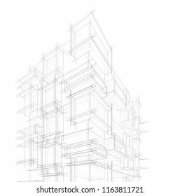 modern architecture 3d illustration