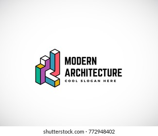 Modern Architecture Abstract Logo Template. Construction Sign. Building Concept Symbol. Isolated with Premium Typography. Raster Copy.