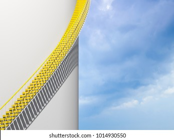Modern architecture background, yellow stairs goes over round white wall, 3d illustration - Shutterstock ID 1014930550