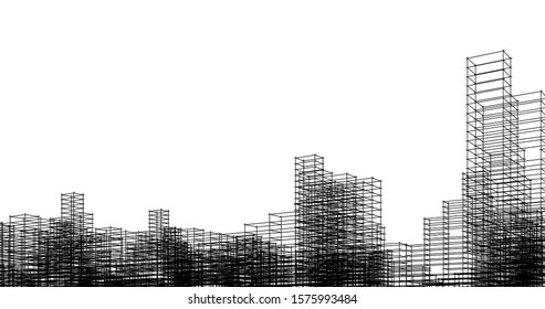 Modern architecture buildings, city concept sketch 3d illustration