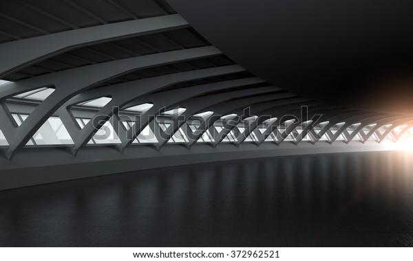 Moderne Architektur, gebogener Kopienraum, Inneneinrichtung