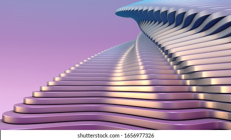 Modern architecture detail. Futuristic metal Building. Art background with pastel colors. Abstract curved shape. 3D Rendering