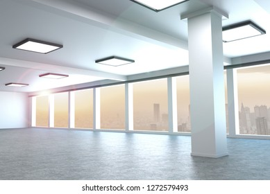 modern architecture empty office large city 3d rendering