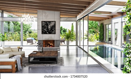 Modern architecture meets rustic accents with this interior, exterior common area with lap pool,fireplace and indoor and outdoor furniture. 3d rendering