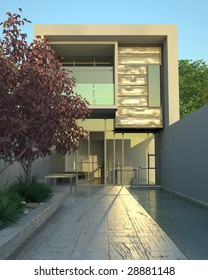 Modern architecture in mid-afternoon (3D render)