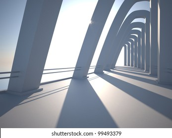 Modern architecture with pillars. Bridge to Heaven,