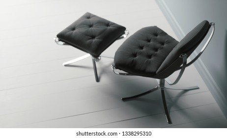 Modern armchair near the wall, top view. 3d illustration