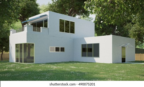 Modern arquitecture cube house at daylight 3D Rendering)