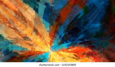 Moderne Kunst. Farbige zeitgenössische Kunst. Farbstriche von Farben. Pinselstriche auf abstraktem Hintergrund. Pinselstrich.