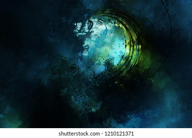 Modern art. Colorful contemporary artwork. Color strokes of paint. Brushstrokes on abstract background. Brush painting.
