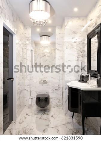 Modern Art Deco Bathroom Interior Design Stockillustration 621831590