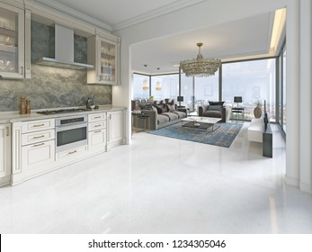 Modern art deco kitchen with classic elements. Glass facade and built-in appliances. Interior in beige colors. 3D rendering.