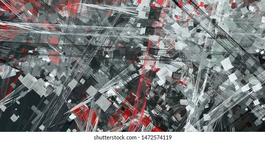 Modern art drawing painting. 2d illustration. Digital texture wallpaper. Artistic sketch draw backdrop material. Crazy sketch random pattern mix creation. Creative chaos and variety structure.