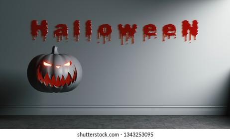 Modern art illustration of Halloween day. 3d illustration. Creative artwork of Halloween day