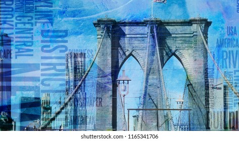 Modern art. NY Brooklyn Bridge. 3D rendering