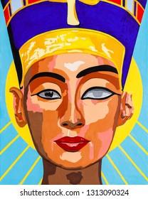 Modern art portrait painting of Egyptian Queen Nefertiti.