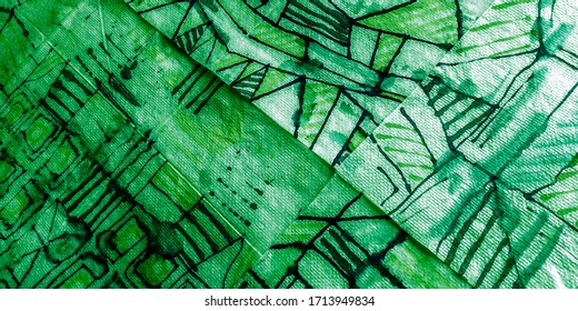 Modern Art. White Watercolor Geometry. Colorful Marker. Green Geometric Design. Green Urban Poster Design. Art Craft Hands.