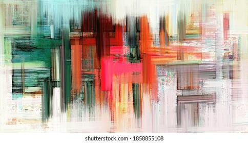 Modern artwork on white canvas. Digital brush strokes like oil painting. Vibrant paint, background illustration
