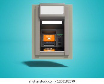Modern ATM included with orange screen 3d render on blue background with shadow