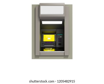 Modern ATM included with yellow screen 3d render on white background no shadow