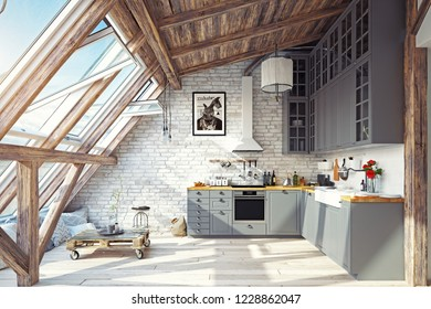 modern attic kitchen interior. 3d rendering design concept