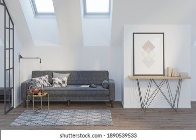 Modern attic with a vertical poster and books on a sideboard, a gray sofa with pillows, a coffee table with drinks, a glass partition, a carpet on a wooden floor, two skylights. Front view. 3d render