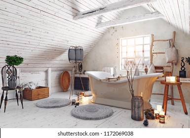 modern attic white bathroom interior. 3d rendering design concept