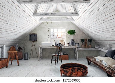 modern attic white  interior. 3d rendering design concept