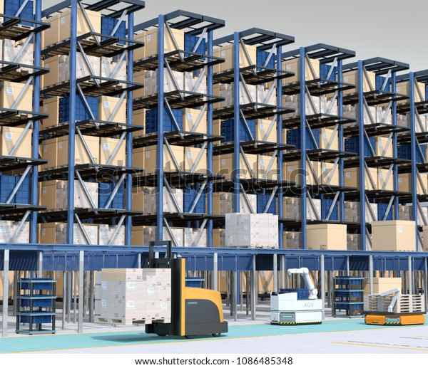 Modern Automated Logistics Center's interior. AGV and autonomous forklift carrying goods. Concept for automated logistics solution. 3D rendering image.