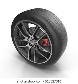 Modern automotive wheel isolated on white. 3D illustration