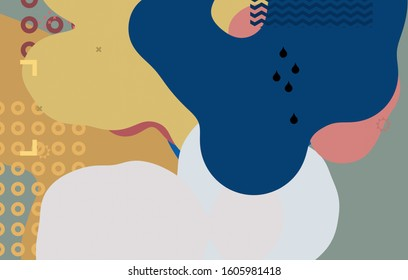 Modern backdrop. Artistic texture. Multicolor pattern. Round objects. Flat, circular, solid shapes. Abstract shape. Smooth globule. 2d illustration. Digital art.