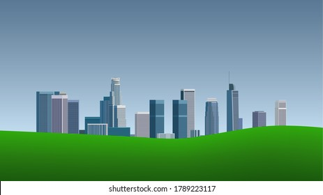 Modern background with downtown Los Angeles cityscape, green grass and blue sky –16:9 widescreen -  3D illustration