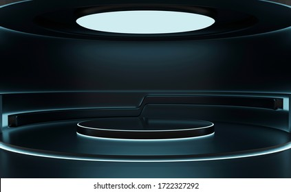 Modern background and empty stage. Future modern interior concept. showcase for product, 3d rendering