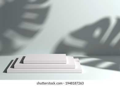 Modern background of a pedestal with natural soft light and monstera plant leaves shadows. 3d illustration for brand identity banner. Perfect for product presentation and branding.