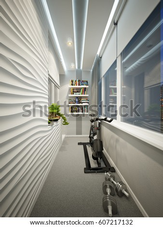 Modern Balcony Interior Design Workplace Sports Stock Illustration