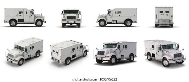 Modern Bank Armored Car renders set from different angles on a white. 3D illustration