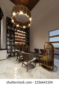 Modern bar restaurant in a trendy design with a library and a closet with books. 3d rendering.