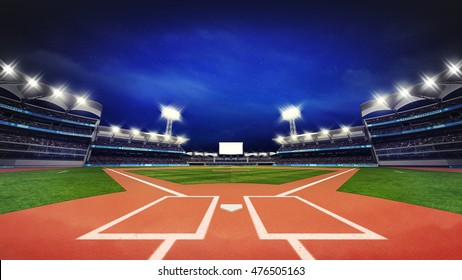 modern baseball stadium pitch with fans and green grass, sport theme 3D illustration