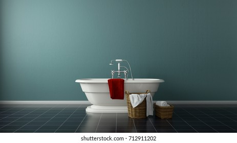 Modern bath tub in front of wall with towels 3d rendering