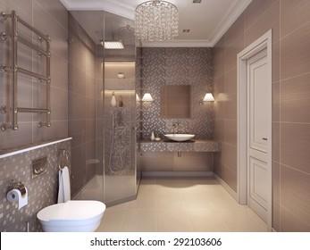 Transparent glass bathroom shower wc contemporary stock