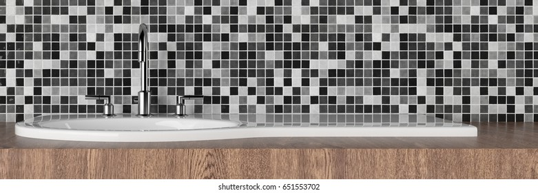 Modern bathroom with basin with mixed black white tiles and wood 3d rendering